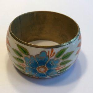 Boho Brass bangle bracelet with painted flowers